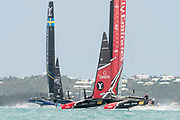 The Great Sound, Bermuda. 11th June 2017. Emirates Team New Zealand and Artemis Racing (SWE) in race six of the Louis Vuitton America's Cup Challenger playoff finals. ETNZ won the race to go ahead to 4 - 2.