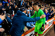 Ederson Moraes (31) of Manchester City goes to the City fans at full time after a 1-0 win over Bournemouth to hand his shirt to a fan during the Premier League match between Bournemouth and Manchester City at the Vitality Stadium, Bournemouth, England on 2 March 2019.