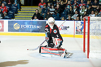 KELOWNA, CANADA, DECEMBER 3: Adam Brown #1 of the Kelowna Rockets defends the net as the Prince George Cougars visit the Kelowna Rockets  on December 3, 2011 at Prospera Place in Kelowna, British Columbia, Canada (Photo by Marissa Baecker/Shoot the Breeze) *** Local Caption ***