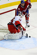 17 November 2009: Carolina Hurricanes' goalie Michael Leighton in action during the third period against Montreal Canadiens' Glen Metropolit at the Bell Centre in Montreal, Quebec, Canada. Montreal Canadiens defeated Carolina Hurricanes 3-2 after a shootout.