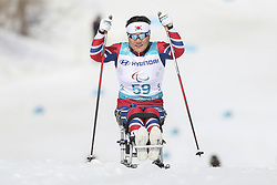 March 14, 2018 - Pyeongchang, GANGWON, SOUTH KOREA - March 14, 2018-Pyeongchang, South Korea- LEE Doyeon of South Korea action on the slope during an 2018 winter Paralympic Cross-Country Women's 1.1Km Sprint ,Sitting at Alpensia Biathlon Center in Pyeongchang, South Korea. (Credit Image: © Gmc via ZUMA Wire)