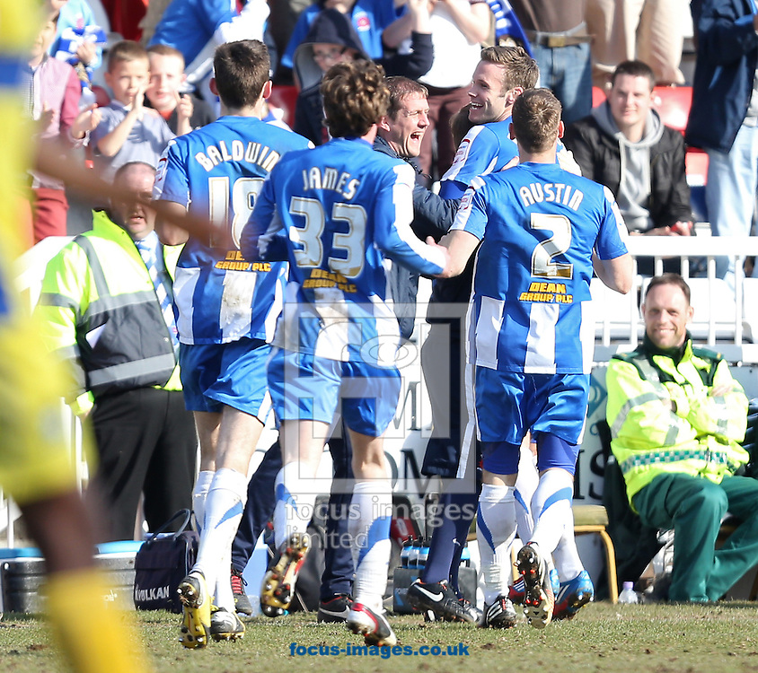 Picture by Paul Gaythorpe/Focus Images Ltd +447771 871632.06/04/2013.Hartlepool United celebrate the second goal scored by Andy Monkhouse against Bury during the npower League 1 match at Victoria Park, Hartlepool.