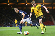 Belgium midfielder Kevin De Bruyne (7) (Manchester City) takes it past during the UEFA European 2020 Qualifier match between Scotland and Belgium at Hampden Park, Glasgow, United Kingdom on 9 September 2019.