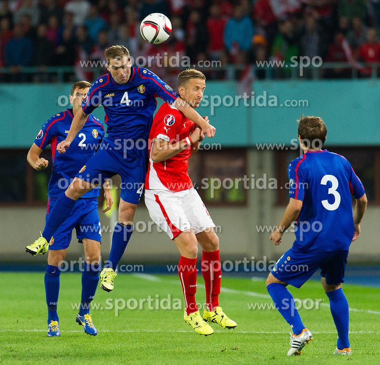 05.09.2015, Ernst Happel Stadion, Wien, AUT, UEFA Euro 2016 Qualifikation, Oesterreich vs Moldawien, Gruppe G, im Bild v.l. Iulian Erhan (MDA), Marc Janko (AUT) // f.l.t.r. Iulian Erhan (MDA), Marc Janko (AUT) during the UEFA EURO 2016 qualifier group G match between Austria and Moldova at the Ernst Happel Stadion in Wien, Austria on 2015/09/05. EXPA Pictures © 2015, PhotoCredit: EXPA/ Michael Gruber