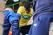 AFC Wimbledon goalkeeper Nathan Trott (1) looking at computer prior to kick off during the EFL Sky Bet League 1 match between Southend United and AFC Wimbledon at Roots Hall, Southend, England on 12 October 2019.