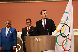 LIMA, Sept. 16, 2017  New International Olympic Committee (IOC) member and World Rowing Federation President Jean-Christophe Rolland (R) takes his oath during the 131st IOC session in Lima, Peru, on Sept. 15, 2017. The 131st IOC session concluded on Friday. (Credit Image: © Li Ming/Xinhua via ZUMA Wire)