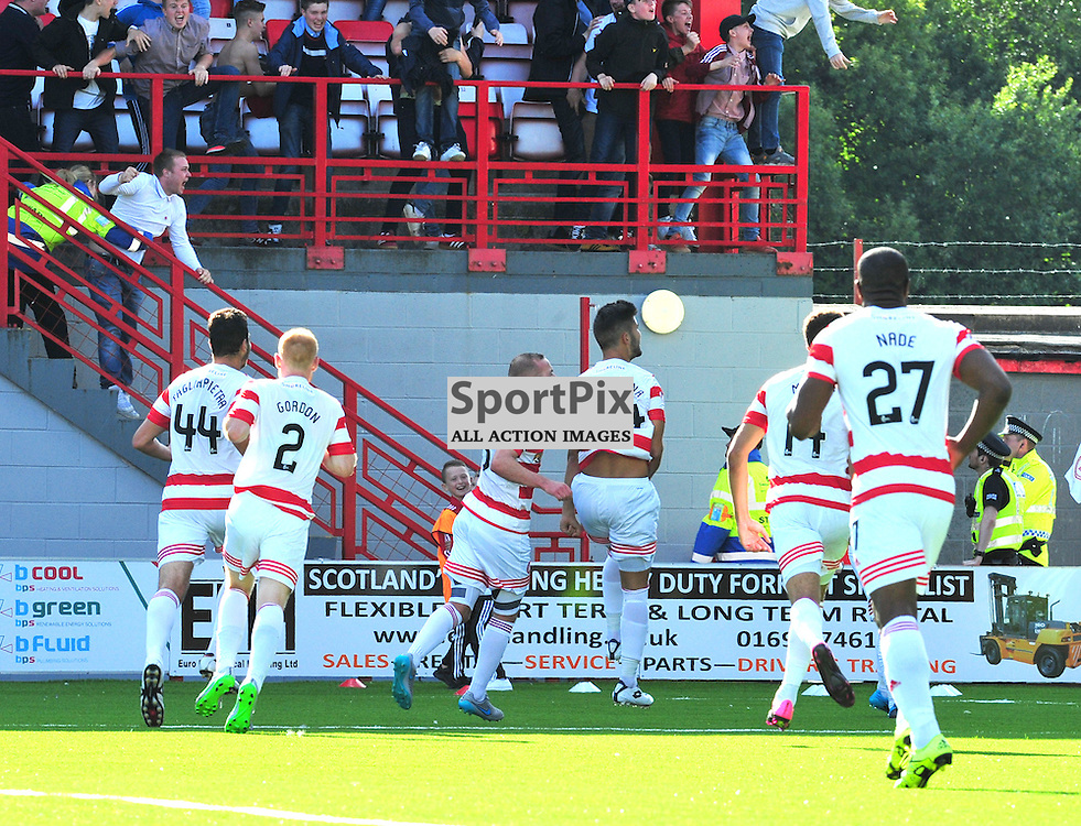 Jesus Garcia Tena celebrates with his team mates the winning goal against Hearts......(c) BILLY WHITE | SportPix.org.uk