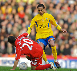 LIVERPOOL, ENGLAND - Saturday, January 26, 2008: Havant and Waterlooville's Rocky Baptiste in action against Liverpool during the FA Cup 4th Round match at Anfield. (Photo by David Rawcliffe/Propaganda)