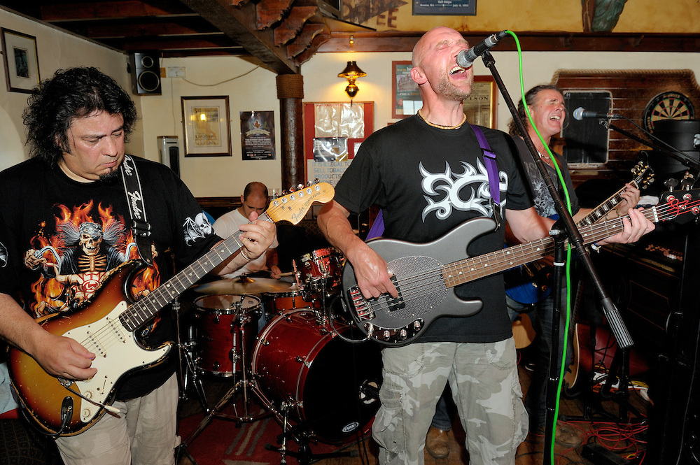 Karac, rock blues 4 piece band performing in the Sailors Return pub during Maryport Blues Festival, 2010. Cumbria, England