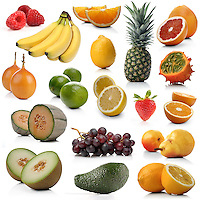 Mix of exotic fruits on white background