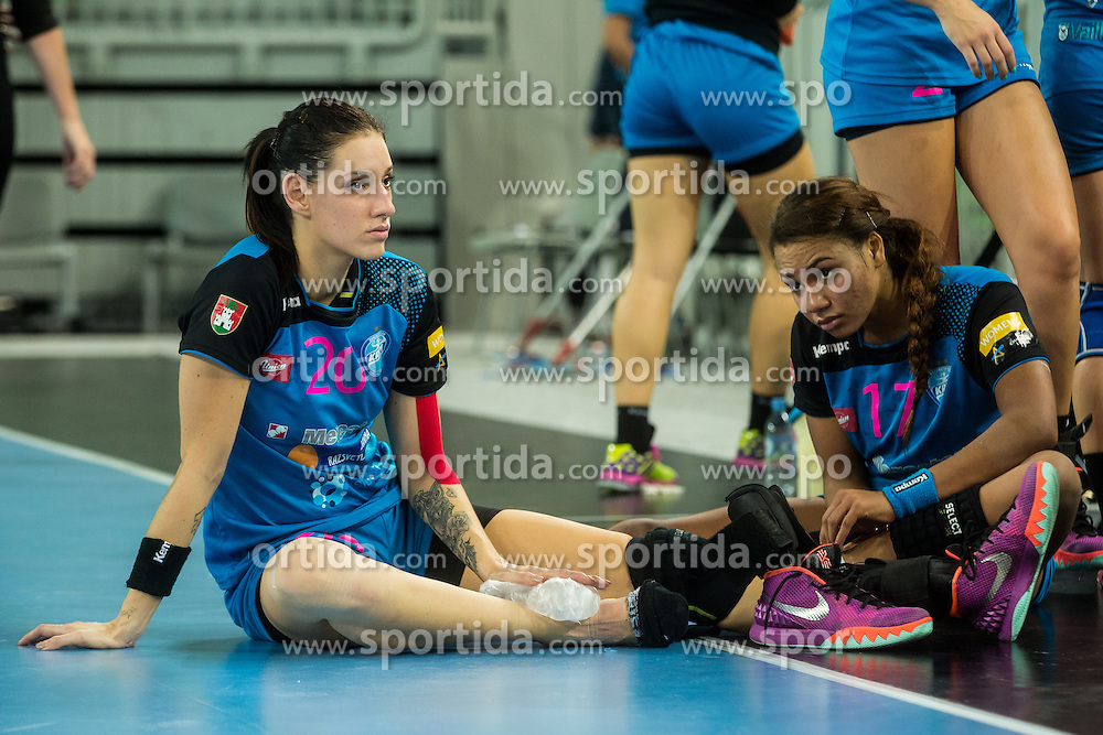 Alja Koren and Elizabeth Omorgie of Krim during handball match between RK Krim Mercator (SLO) and Larvik (NOR) in 3rd Round of Women's EHF Champions League 2015/16, on October 30, 2015 in Arena Stozice, Ljubljana, Slovenia. Photo by Grega Valancic / Sportida