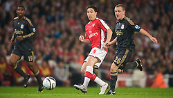LONDON, ENGLAND - Wednesday, October 28, 2009: Liverpool's Jay Spearing and Arsenal's Samir Nasri during the League Cup 4th Round match at Emirates Stadium. (Photo by David Rawcliffe/Propaganda)