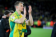 Norwich City defender Christoph Zimmermann (6) celebrates promotion to the Premier League after the EFL Sky Bet Championship match between Norwich City and Blackburn Rovers at Carrow Road, Norwich, England on 27 April 2019.