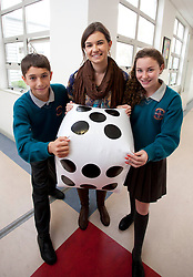 Repro Free: 17/10/2012 .Adrian Mihutescu and Clare Hanley from Hartstown Community School pictured with Jessica Clarke from ITB during the Institute of Technology Blanchardstown (ITB) exciting mathematics workshop titled 'Maths and Sport: Countdown to the Games, for Maths week taking place onsite from the 15th -19th of October. The project promises to make maths fun for over 280 first year students from local secondary Schools. Pic Andres Poveda