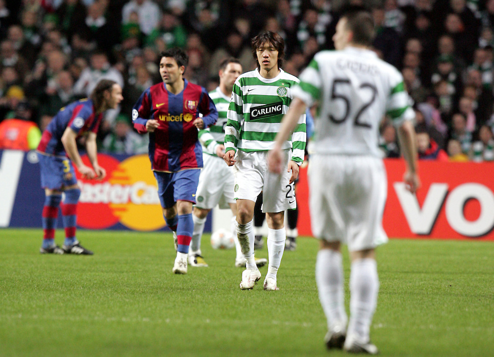 Shunsuke Nakamura of Celtic. Celtic v Barcelona, Uefa Champions League, Knockout phase, Celtic Park, Glasgow, Scotland. 20th February 2008.