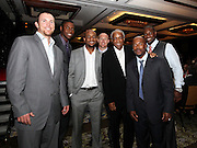ATLANTA, GA - MAY 14:  Members of the Philadelphia Phillies meet Hall of Famer Frank Robinson (third from right), including (from left to right, excluding Robinson) Brad Lidge , John Mayberry Jr., Ben Francisco, Pete Orr, Jimmy Rollins and Ryan Howard at the MLB Beacon Awards Banquet at the Omni Hotel on May 14, 2011 in Atlanta, Georgia.  (Photo by Mike Zarrilli/Getty Images)