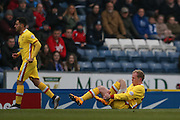 MK Dons midfielder, on loan from Crystal Palace, Jonny Williams (23) feels a kick during the Sky Bet Championship match between Blackburn Rovers and Milton Keynes Dons at Ewood Park, Blackburn, England on 27 February 2016. Photo by Simon Davies.
