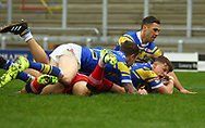 Ash Handley of Leeds Rhinos scores the try against Salford Red Devils during the Betfred Super League match at Emerald Headingley Stadium, Leeds<br /> Picture by Stephen Gaunt/Focus Images Ltd +447904 833202<br /> 02/04/2018