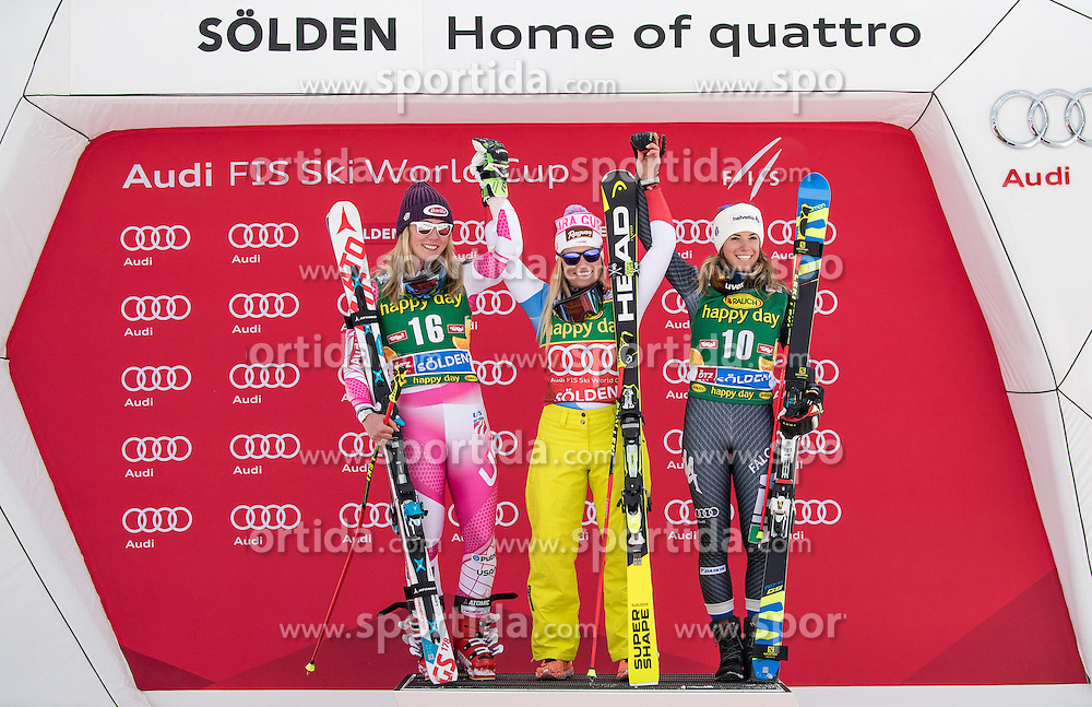 22.10.2016, Rettenbachferner, Soelden, AUT, FIS Weltcup Ski Alpin, Soelden, Siegerpräsentation, im Bild v.l. Mikaela Shiffrin (USA, 2. Platz), Lara Gut (SUI, 1. Platz), Marta Bassino (ITA, 3. Platz) // f.l. 2nd placed Mikaela Shiffrin of the USA winner Lara Gut of Switzerland third placed Marta Bassino of Italy during the award ceremony for the ladies Giant Slalom of Soelden FIS Ski Alpine World Cup at the Rettenbachferner in Soelden, Austria on 2016/10/22. EXPA Pictures © 2016, PhotoCredit: EXPA/ Johann Groder
