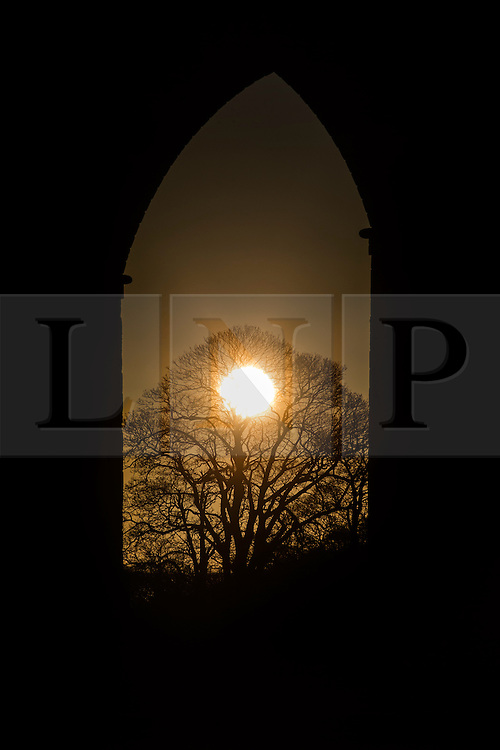 © Licensed to London News Pictures. 03/03/2016. Arthington UK. The sun rises through the arches of Arthington Viaduct near Otley this morning as Yorkshire woke to a beautiful sunrise. Photo credit: Andrew McCaren/LNP
