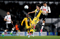 Marcus Olsson of Derby County beats Lucas Piazon of Fulham to a header - Mandatory by-line: Robbie Stephenson/JMP - 04/04/2017 - FOOTBALL - Pride Park Stadium - Derby, England - Derby County v Fulham - Sky Bet Championship