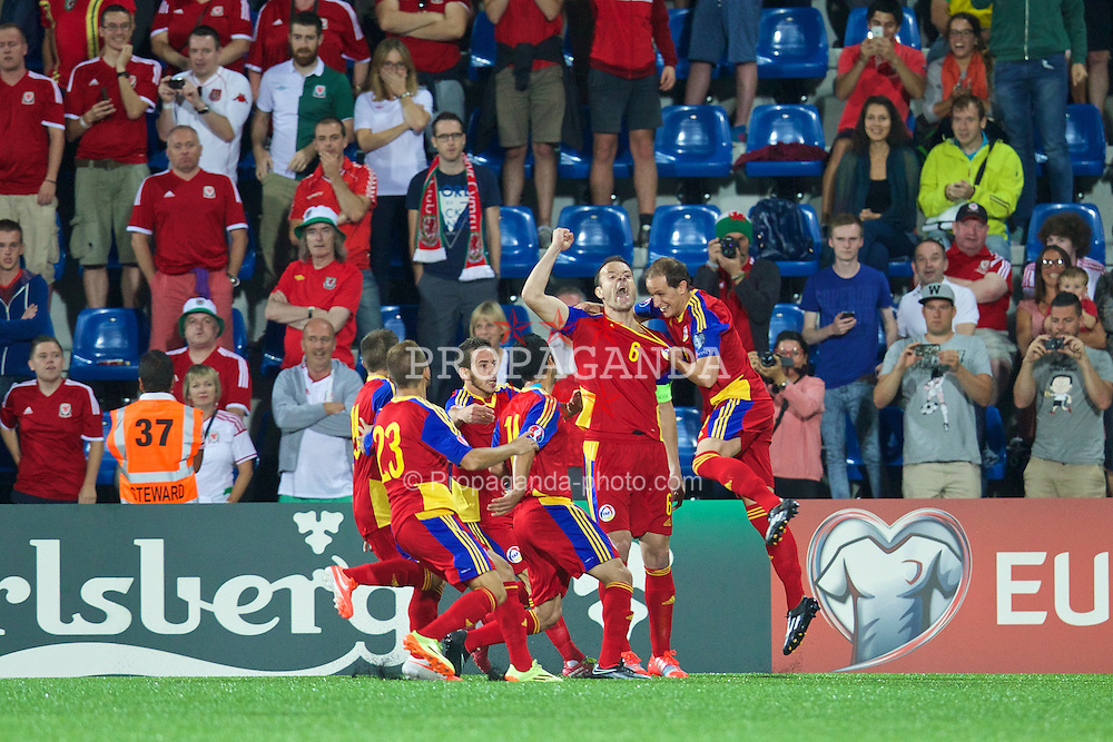 ANDORRA LA VELLA, ANDORRA - Tuesday, September 9, 2014: Andorra's Ildefons Lima Sola celebrates scoring the first goal from the penalty spot against Wales during the opening UEFA Euro 2016 qualifying match at the Camp d'Esports del M.I. Consell General. (Pic by David Rawcliffe/Propaganda)
