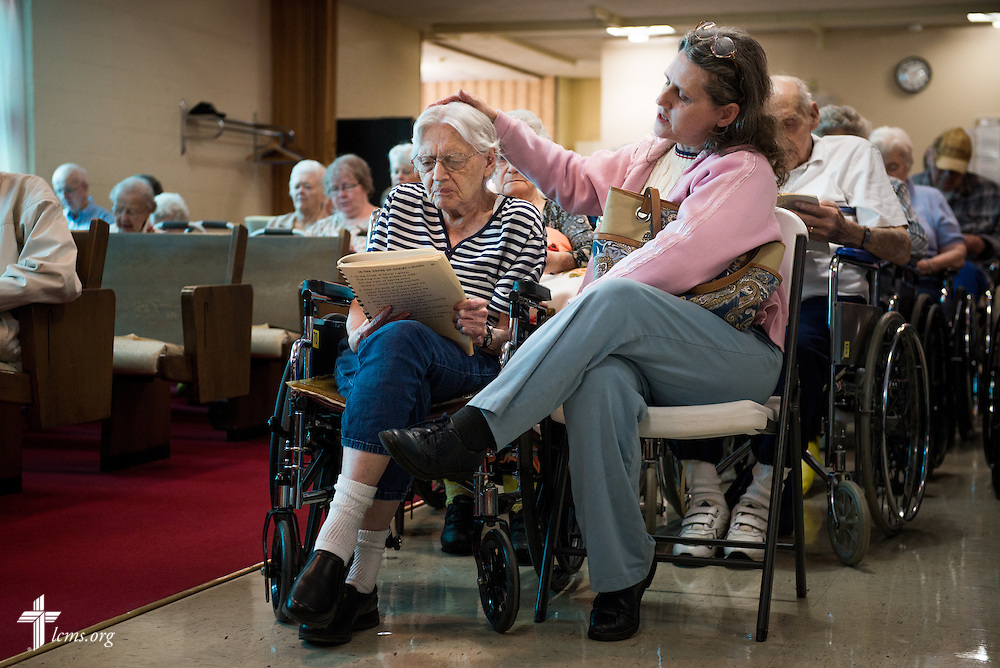 Congregants sing hymns during a Lenten service at Lutheran Good Shepherd Home in Concordia, Mo., on Thursday, April 10, 2014. LCMS Communications/Erik M. Lunsford