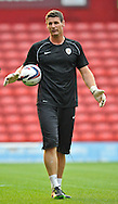 Picture by Richard Land/Focus Images Ltd +44 7713 507003<br /> 27/08/2013<br /> Mike Pollitt of Barnsley in the warm up before the Capital One Cup match at Oakwell, Barnsley.