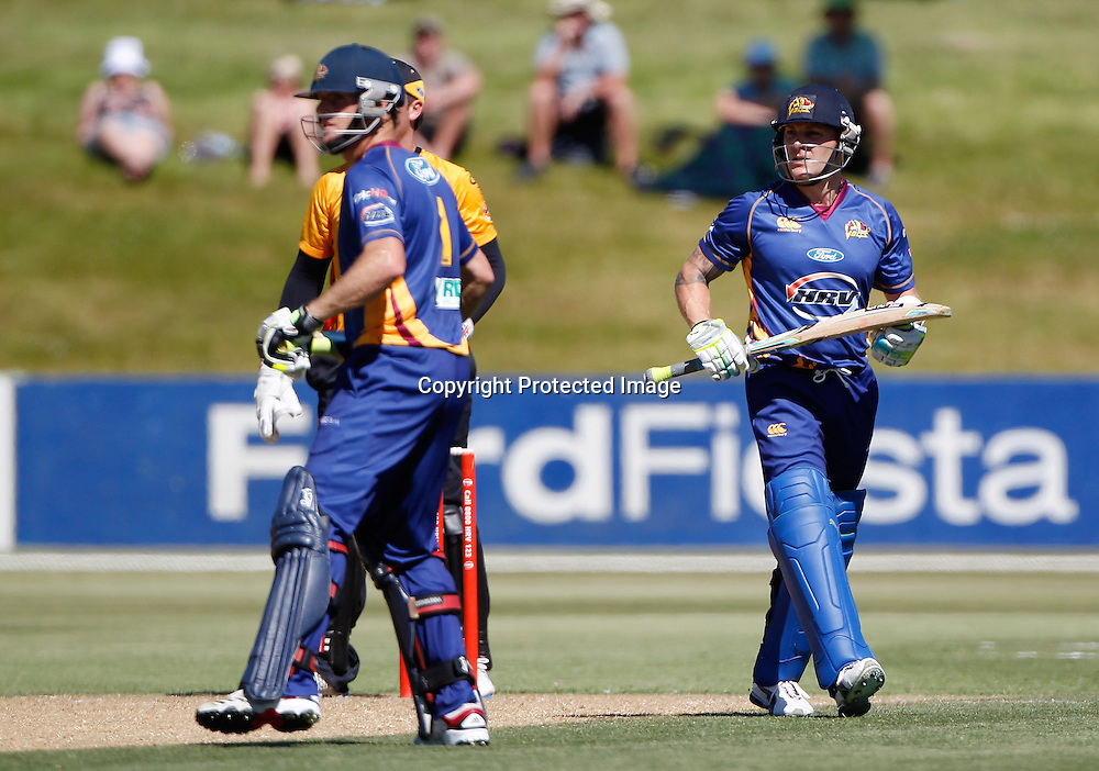 Volts Brendon McCullum is dismissed during the Twenty20 Cricket - HRV Cup, Otago Volts v Wellington Firebirds, Saturday 31 December 2011, Queenstown Events Centre, Queenstown, New Zealand. Photo: Michael Thomas/photosport.co.nz