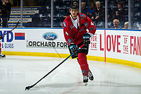 KELOWNA, CANADA - MARCH 9:  Devin Steffler #4 of the Kelowna Rockets warms up with the puck against the Kamloops Blazers on March 9, 2019 at Prospera Place in Kelowna, British Columbia, Canada.  (Photo by Marissa Baecker/Shoot the Breeze)