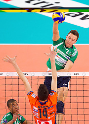 15-01-2013 VOLLEYBAL: CHAMPIONS LEAGUE ACH VOLLEY - CUNEO: LJUBLJANA<br /> Nimir Abdelaziz and Andrea Rossi of Cuneo during volleyball match between ACH Volley Ljubljana and Bre Banca Lannutti Cuneo (ITA) in Playoff 12 game of CEV Champions League<br /> ***NETHERLANDS ONLY***<br /> &copy;2013-FotoHoogendoorn.nL