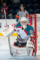 KELOWNA, CANADA - MARCH 5: Jordon Cooke #30 of the Kelowna Rockets defends the net against the Spokane Chiefs on March 5, 2014 at Prospera Place in Kelowna, British Columbia, Canada.   (Photo by Marissa Baecker/Getty Images)  *** Local Caption *** Jordon Cooke;