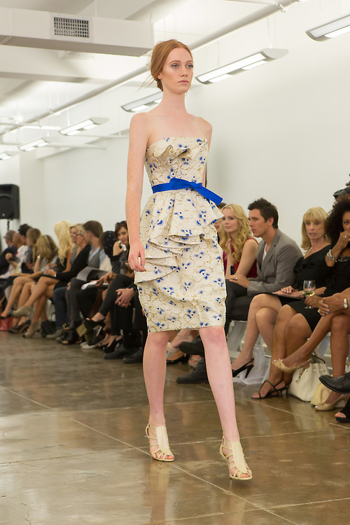 Cream and blue strapless dress. By Carmen Marc Valvo at the Spring 2013 Fashion Week show in New York.