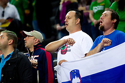 Fans of Slovenia during basketball game between National basketball teams of Slovenia and Lithuania at of FIBA Europe Eurobasket Lithuania 2011, on September 15, 2011, in Arena Zalgirio, Kaunas, Lithuania.  (Photo by Vid Ponikvar / Sportida)
