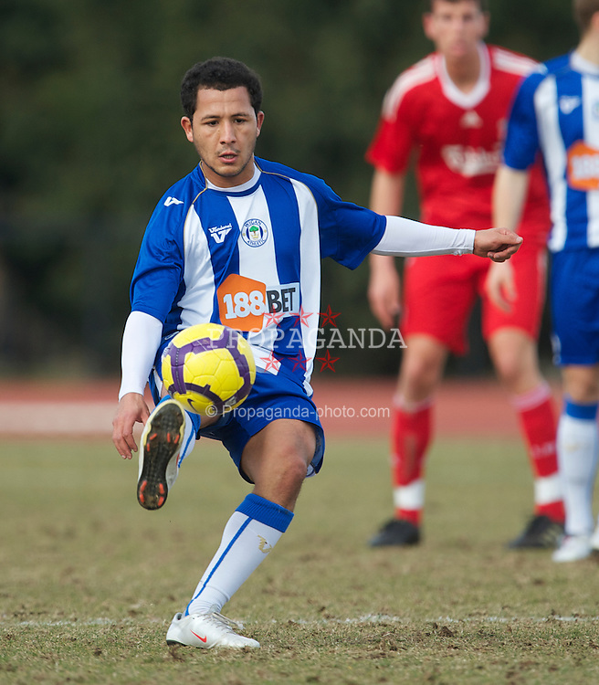 WIGAN, ENGLAND - Wednesday, March 17, 2010: Wigan Athletic Reserves' Rachid Bouaouzan during the Lancashire Senior Cup Semi-Final at the Robin Park Sports Arena. (Photo by David Rawcliffe/Propaganda)