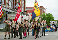 Boy Scouts Pack 68 marches down Main Street during the Memorial Day Parade on Saturday morning.  (Karen Bobotas/for the Laconia Daily Sun)