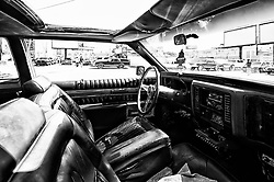 Interior view of a modified 1984 Cadillac Fleetwood Lowrider owned by Derrick Walton, 51, of Lansdowne, PA is seen at a community car show in North Philadelphia, on Sunday September 15, 2019.