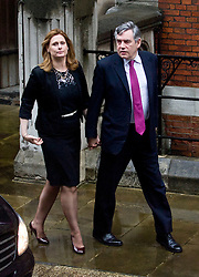 © Licensed to London News Pictures. 11/06/2012. London, UK. Former British Prime Minister Gordon Brown and his wife Sarah Brown arriving at the Leveson Inquiry in to press standards at the Royal Courts of Justice in London on June 11, 2012. Photo credit : Thomas Campean/LNP..
