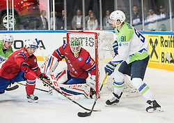 Miha Verlic of Slovenia vs Alexander Bonsaksen of Norway and Lars Haugen of Norway during the 2017 IIHF Men's World Championship group B Ice hockey match between National Teams of Slovenia and Norway, on May 9, 2017 in Accorhotels Arena in Paris, France. Photo by Vid Ponikvar / Sportida