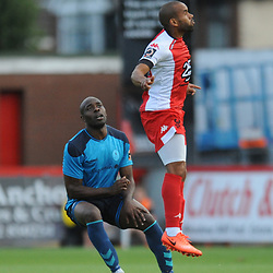 TELFORD COPYRIGHT MIKE SHERIDAN 7/8/2018 - Theo Streete of AFC Telford battles for the ball with Ashley Chambers during the National League North fixture between Kidderminster Harriers FC vs AFC Telford United.