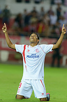 Sevilla's Bacca celebs his goal during the match between Sevilla FC and Villarreal day 9 spanish  BBVA League 2014-2015 day 5, played at Sanchez Pizjuan stadium in Seville, Spain. (PHOTO: CARLOS BOUZA / BOUZA PRESS / ALTER PHOTOS)