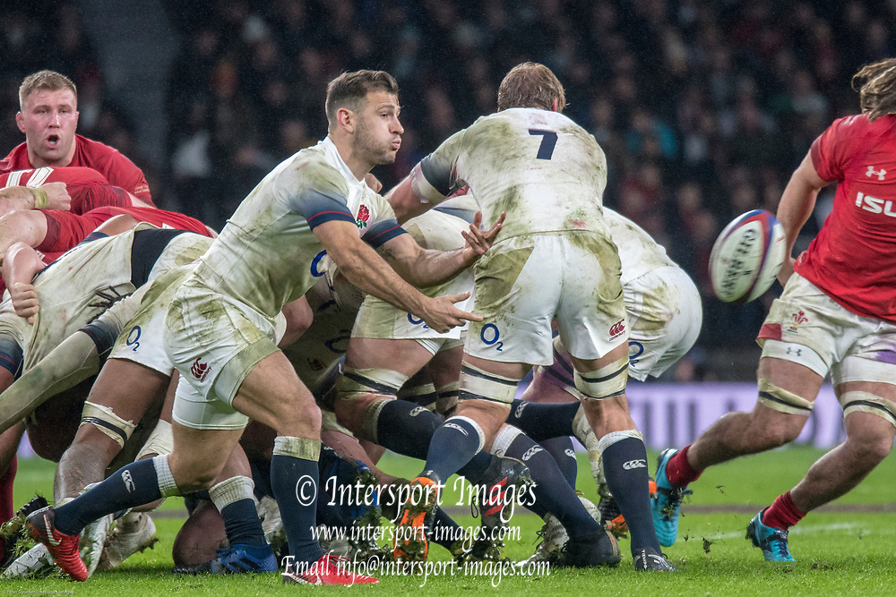 Twickenham, Surrey. UK.  Danny CARE, passes the ball from the back of the scrum, during the Six Nations Rugby Match, England vs Wales RFU Stadium, Twickenham. Surrey, England. on Saturday 10.02.18<br /> <br /> <br /> [Mandatory Credit Peter SPURRIER/Intersport Images]