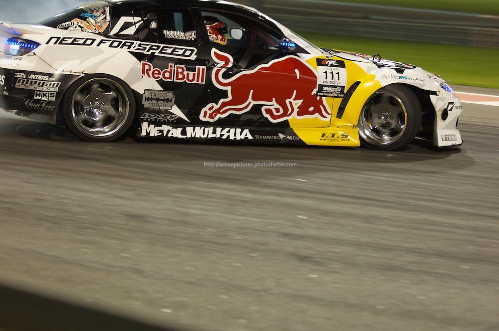 25 feb, formula drift champion ship, yas marina circuit, abu dhabi, mike whiddett driving his redbull mazda rx8