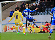 Callum Camps shot saved by Jordan Archer during the Sky Bet League 1 match between Rochdale and Millwall at Spotland, Rochdale, England on 13 February 2016. Photo by Daniel Youngs.