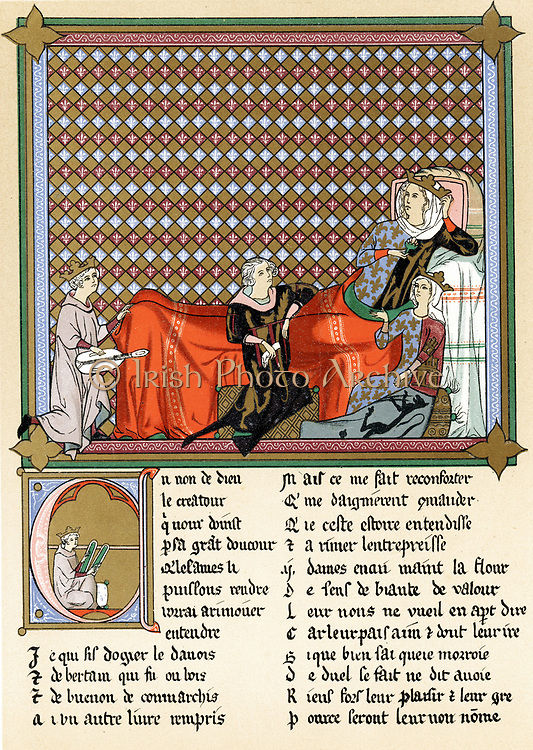 Adenet le Roi (c1240-c1300) 'King of the Minstrels' French poet and musician, reciting 'Roman de Cleomades' to Blanche of Castile (1188-1252) wife of Louis VIII of France, mother of Louis IX,  granddaughter of Eleanor of Aquitaine and Mathilde de Brabant,