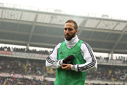 February 18, 2018 - Turin, Piedmont, Italy - Gonzalo Higuain (Juventus FC) before the Serie A football match between Torino FC and Juventus FC at Olympic Grande Torino Stadium  on 18 February, 2018 in Turin, Italy. (Credit Image: © Massimiliano Ferraro/NurPhoto via ZUMA Press)