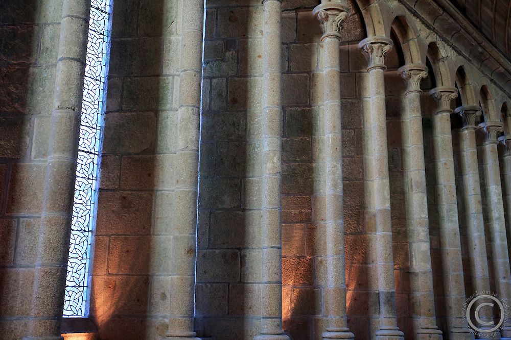 The inside of the Abbey within the Mont San Michel monastery off the Normandy coast of France.