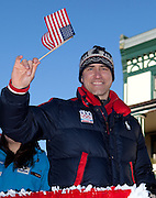 US Olympic Luge athlete and flag bearor a the 2010 Winter Olympic game opening ceremonies, Mark Grimmette partakes in a a celebratory parade honoring North Country Winter Olympic Athletes in Saranac Lake, NY. (Photo/Todd Bissonette - http://www.rtbphoto.com