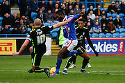 Carlisle United Forward Jabo Ibehre hits the shot blocked by York City Midfielder Russell Penn during the Sky Bet League 2 match between Carlisle United and York City at Brunton Park, Carlisle, England on 23 January 2016. Photo by Craig McAllister.