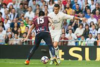 Real Madrid's player Cristiano Ronaldo and Eibar FC's player Mauro Dos Santos during a match of La Liga Santander at Santiago Bernabeu Stadium in Madrid. October 02, Spain. 2016. (ALTERPHOTOS/BorjaB.Hojas)